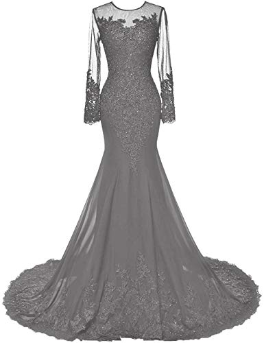 HUINI Abendkleider Lang Meerjungfrau Brautkleider Hochzeitskleid Chiffon Ballkleider Langarm Festkleid Mit Schleppe Grau 40