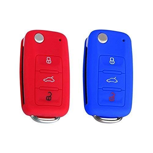 YLC 2 Piezas 3 Botones Silicona Funda para Llave de Coche Car Key Cover para VW Golf 6 Skoda Seat(Azul Marino+Rojo)