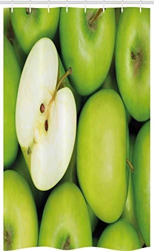 ABAKUHAUS Apfel Schmaler Duschvorhang, Realistischer ges&er Snack, Badezimmer Deko Set aus Stoff mit Haken, 120 x 180 cm, Apfelgrün Creme