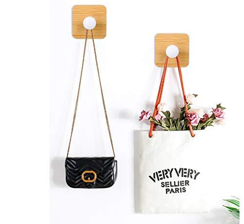 Midanggu Holz-Wandhaken für Kleiderbügel, Handtuch, Schlüssel, Türhaken für Kleidung, selbstklebend, für Duschvorhang, Deko-Haken, 2 Stück Weißes Quadrat