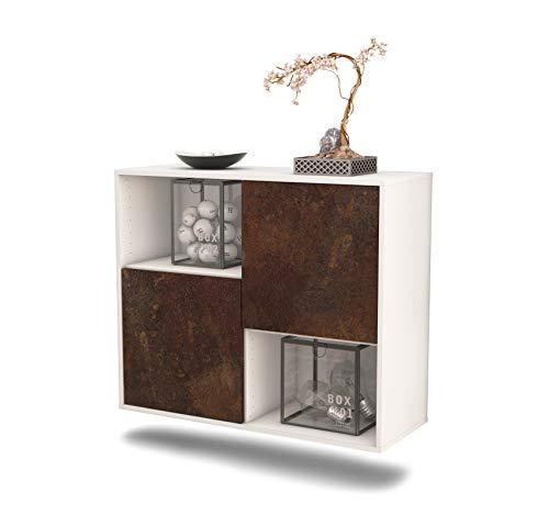 Dekati dressoir Modesto hangend (92 x 77 x 35 cm) romp wit mat | front roestig industrieel design | Push-to-Open