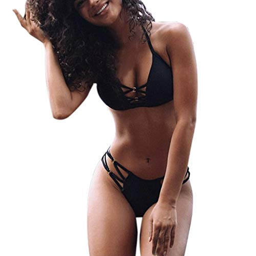 BaZhaHei Damen Sommer Elegante Boho Vintage Bikini Sets Mode Frauen Sexy Bikini Set Einfarbig Sport Push-Up Gepolsterter Badeanzug Triangel Bikinihose Sexy Halter Bademode Bikini-Sets (M, Schwarz)
