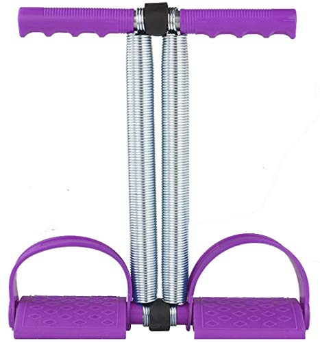Multifunctional Double Spring Tension Foot Pedal Elastic Pull Rope Fitness Equipment Bodybuilding Expander for Abdomen/Waist/Arm/Leg Stretching Slimming Training (Pruple)