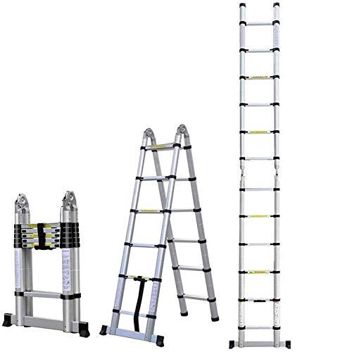 5 M Teleskopleiter, Rutschfester Klappleiter Stehleiter Mehrzweckleiter aus hochwertiges Aluminium bis 150 Kg Belastbar (5 M 2.5+2.5)