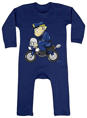 HARIZ Baby Strampler Polizist Lustig Motorrad Polizei Witizg Inkl. Geschenk Karte Matrosen Dunkel Blau 3-6 Monate