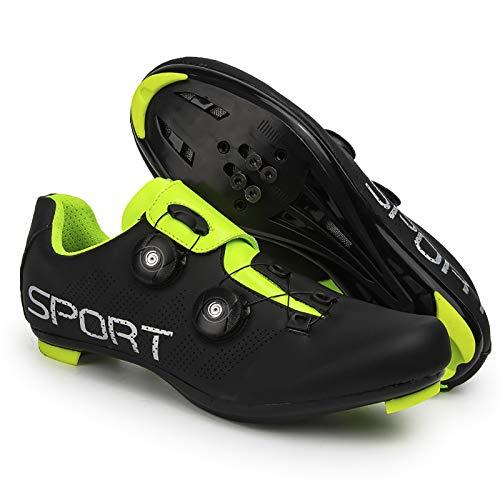 QAL Zapatillas de Ciclismo para Hombre, Zapatillas compatibles con Peleton SPD de Bicicleta de montaña y Carretera para Hombre con Tacos Delta Clip para Bloquear el Pedal Shimano Black-40