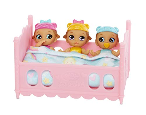 Baby Born Surprise Mini Babies – Unwrap Surprise Twins or Triplets Collectible Baby Dolls with Soft Swaddle, Blanket, Crib Playset