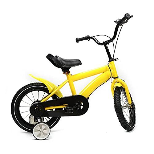 Fetcoi Bicicleta infantil unisex con ruedas de apoyo, con freno de mano, contrapedal, portaequipajes delantero, manillar acolchado y ruedas estabilizadoras (amarillo)