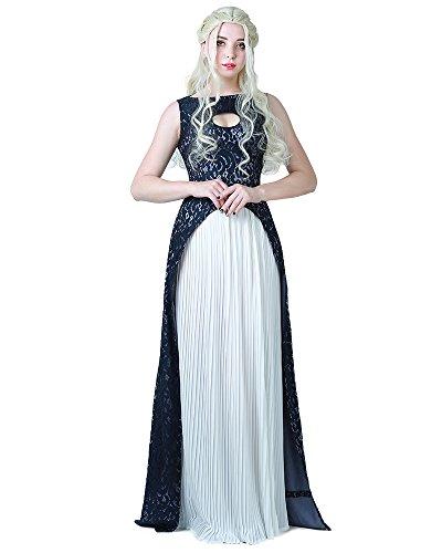 Miccostumes Damen Khaleesi Kleid Daenerys Targaryen Cosplay Halloween X-Large Blau Weiss