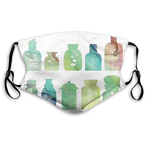 FULIYA Vintage Watercolor Botanical Herbal Treatment Bottles,Adult Dust Mask Fashion Face Mask Sunscreen Windproof Bandana Men's and Ladies Headwear