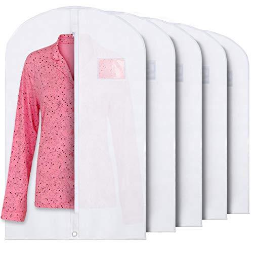 Plixio Atmungsaktiv 101,6cm Weiß Kleidung Taschen für Aufbewahrung von Anzüge Oder Kleider mit Reißverschluss & Transparent Fenster (5Stück)