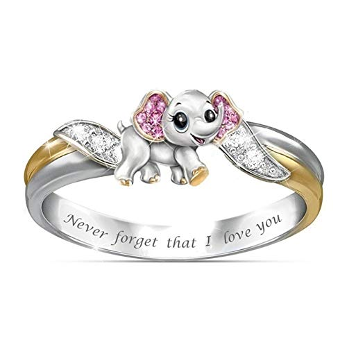 Elephant Animal Girl's Ring, Gift for Girlfriend, Wife, Mom, Grandma Size 5-10 (Color : Pink, Size : 5)