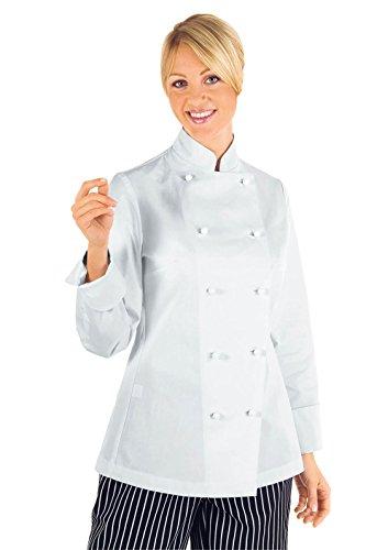 Isacco 057500M Lady Chef Giacca con Bottoni Antipanico, Taglia M, Bianco