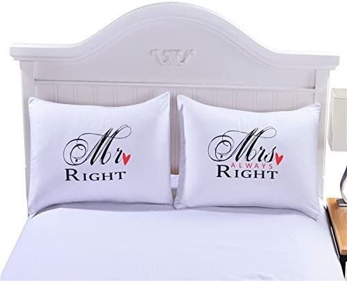 FLC One Pair MR and MRS Couples Pillowcases Romantic for Couples Anniversary White 1 20 x30 product image