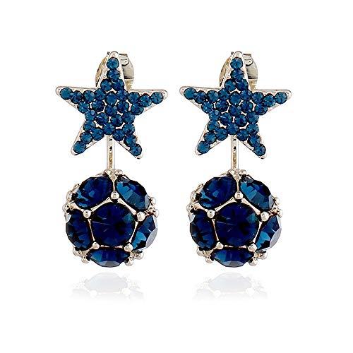 BoMiVa Pendientes 1 par de joyería Coreana Popular Bola de Diamantes 925 Pendientes de Aguja de Plata Pendientes de Cinco Estrellas Pendientes Pendientes