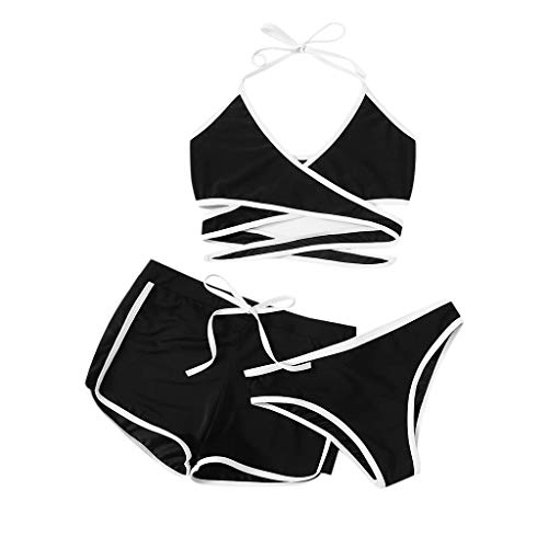 Xisimei 3-Teilig, Damen Bikini Set Badeanzug Neckholder Asymmetrisches Sexy BH Damen Bademode Strandbikini Bikinihose Bikinioberteil Vorne Kreuz mit Shorts Hosen Kurz Kurze Sportshorts, Cooles Design
