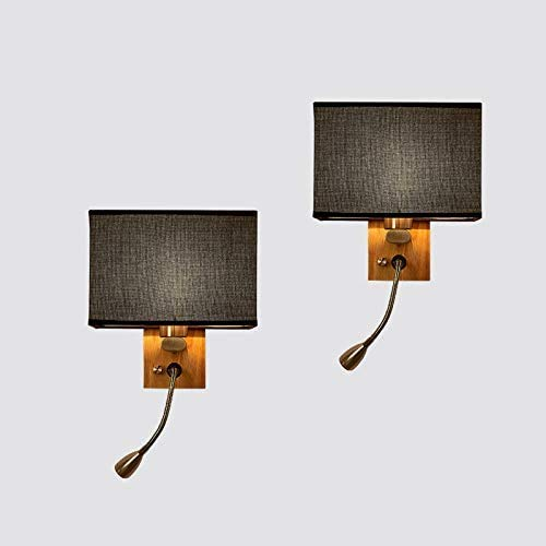 Juego de 2 lámparas de pared para mesita de noche, de tela moderna, lámpara de pared E27, lámpara de lectura LED flexible, ajustable, para dormitorio, salón, estudio, hotel, pasillo