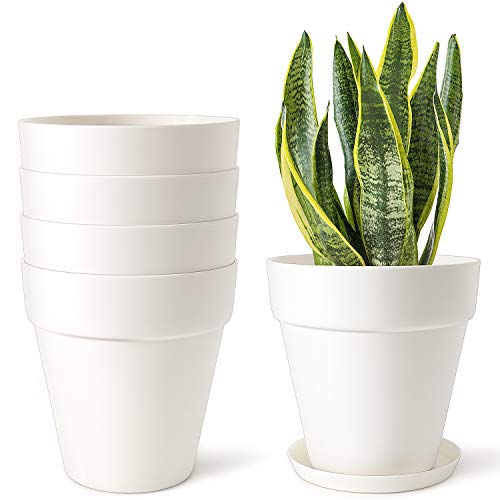 Mkono 5.5 Inch Plastic Planters Terra-Cotta Style Pot, Set of 5 Indoor Flower Plant Pots Modern Decorative Garden Pot with Drainage and Saucer for All House Plants, Herb, and Seed Nursery, Cream White