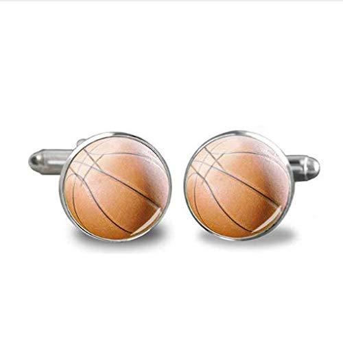 Basketball-Manschettenknöpfe, handgefertigt, rund, Glas-Manschettenknöpfe, Herren-Hemdschmuck