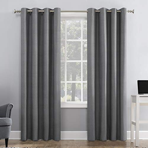 """Sun Zero Duran Thermal Insulated 100% Blackout Grommet Curtain Panel, 50"""" x 84"""", Gray"""