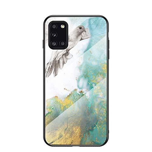 MadBee für Samsung Galaxy A31 Hülle [mit HD-Schutzfolie], Marmor Kratzfeste 9H Glas Back & TPU Silikon Rahmen und weichem Bumper Stoßabsorbierende Schutzhülle (Marmor 2)