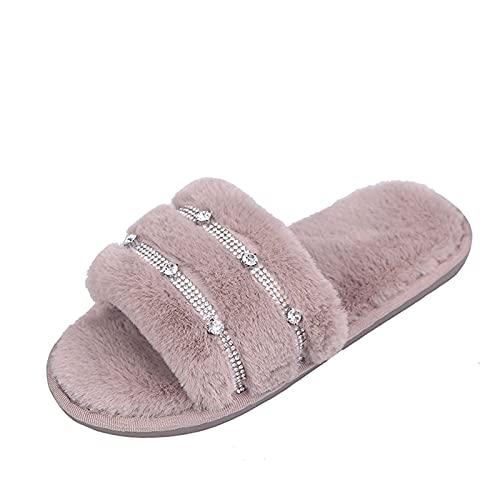 Zapatillas de estar por casa para mujer de felpa: brillantes, suaves, cómodas, planas, calentitas, abiertas, transpirables, para interiores, antideslizantes, de algodón, caqui, 38