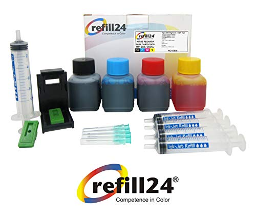 Kit de Recarga para Cartuchos de Tinta HP 302, 302 XL Negro y Color, Incluye Clip y Accesorios + 200 ML Tinta