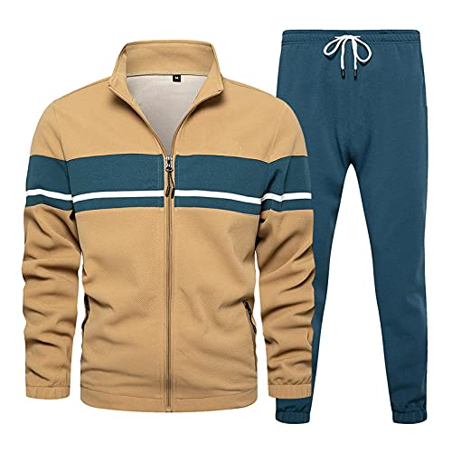 Men's Tracksuit 2 Piece Athletic Sweatsuits Stitching Color Full Zip Up Sweatsuits Running Jogging Sport Suit Sets Activewear