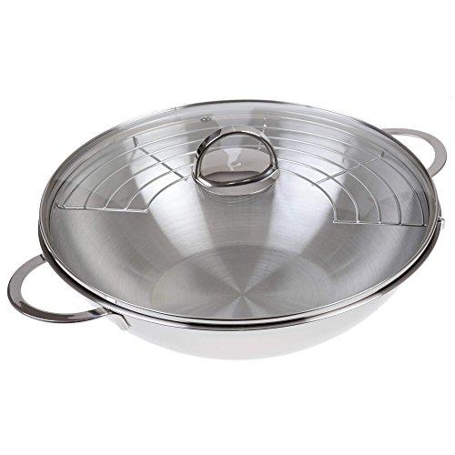 GRÄWE Wok avec couvercle en verre 32cm en acier inoxydable et grille