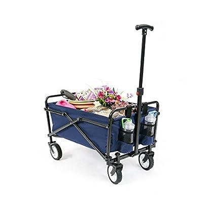 YSC Wagon Garden Folding Utility Shopping Cart,Beach Red (Navy Blue) (Regular, Navy Blue)