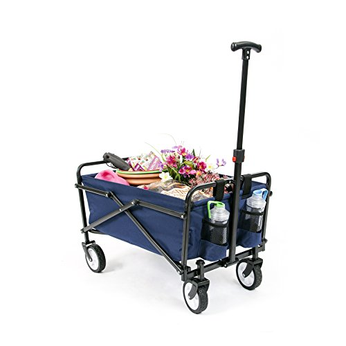 YSC Collapsible Folding Beach Outdoor Utility Wagon (Navy Blue)
