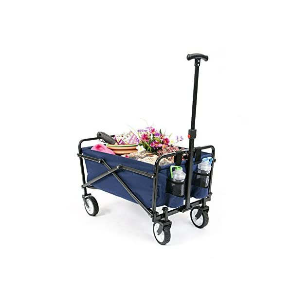 YSC Wagon Garden Folding Utility Shopping Cart,Beach Red (Navy Blue) (Regular, Navy Blue)