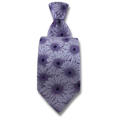 Robert Charles. Cravate. Gerbera, Soie. Violet, Fantaisie. Fabriqué en Italie.