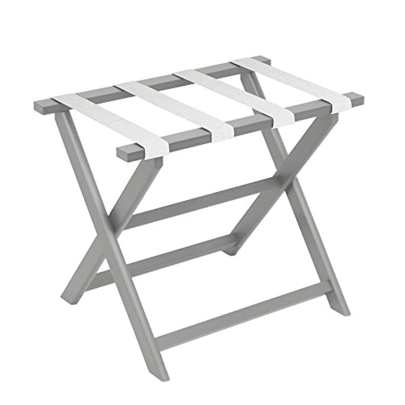 Gate House Furniture Light Grey Eco-Poly Folding Luggage Rack with 4 White Mesh Straps fsipjq6574299