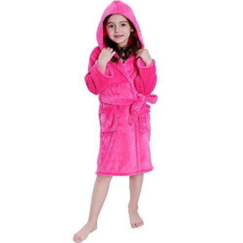 COSMOZ Kinder Bademantel mit Kapuze für Mädchen und Jungen - Super kuschelig und weich, Pink, 128 cm