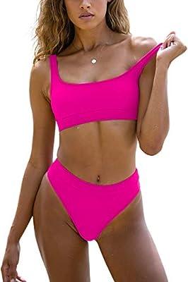 Sports Swimsuits for Women Two Piece Crop Top Bikini Set High Waisted High Cut Bathing Suits
