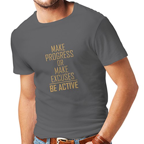 """Männer T-Shirt """"Be Active - Leben ohne Ausreden"""" - Motivation - inspirierend tägliche Angebote für Erfolg (Large Graphit Gold)"""