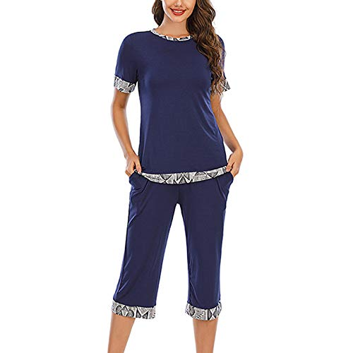 OutTop Womens Loungewear 2-Piece Sets Solid Patchwork Short Sleeve Crewneck Tops+Elastic Waist Shorts Pajamas Sleepwear (Blue, L)