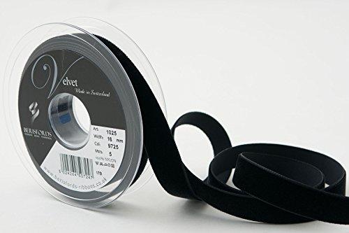 Berisfords - Cinta de Terciopelo, Terciopelo, Negro, 10.2 x 2.1 x 10.2 cm