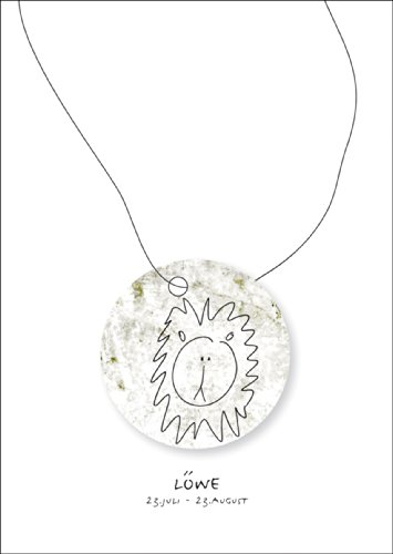 Horoscoop wenskaart voor iedereen die in het sterrenbeeld van de leeuwen geboren zijn • ook voor het direct verzenden met hun persoonlijke tekst als inlegger. • Mooie wenskaart met envelop voor vrienden en familie