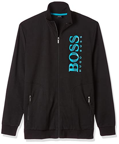 BOSS Herren Tracksuit Jacket Sweatshirt, Schwarz (Black 001), Large (Herstellergröße: L)