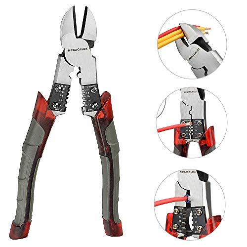 Side Cutting Pliers, Industrial Pliers with Wire Stripper/Crimper/Cutter Function, Heavy Duty Cutter Plier, 8 inch NEWACALOX (Grey)