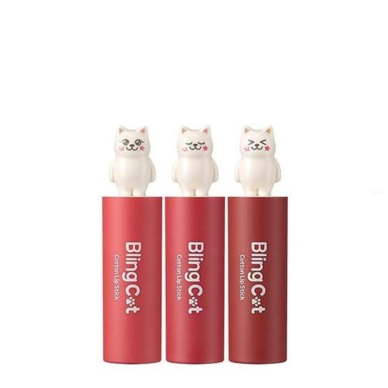 学んだ区画ラベトニーモリー ブリングキャット コットン リップスティック 3.4g / TONYMOLY Bling Cat Cotton Lipstick # 04. Little Coral [並行輸入品]