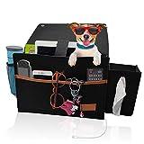 NUFR Bedside-Caddy-Storage-Organizer, Bed-Caddy Felt-Hanging-Storage-Bag with Tissue Box and Water Bottle Pocket, Bedside-Pocket-Organizer for Home/College Dorm/Bunk Bed/Sofa(Black)