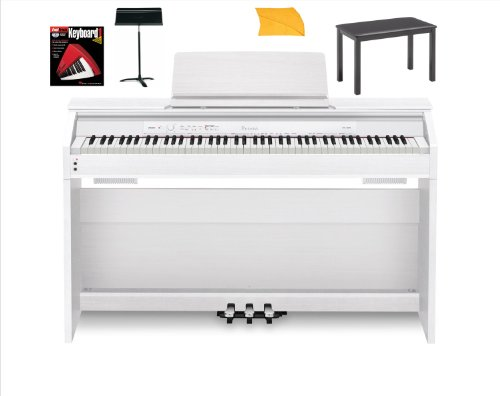 Hot Sale Casio Px850 White Digital Piano Bundle with Casio Cb7bk Furniture Style Bench, Heavy Duty Music Stand, Hal Leonard Instructional Book and Polishing Cloth