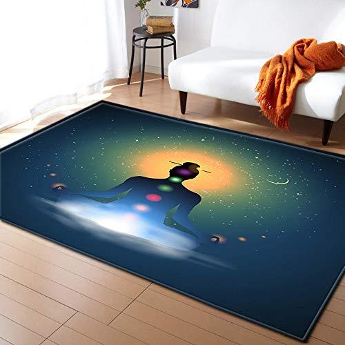 AHCMYK Modern Home Teppiche für Wohnzimmer - Stern Buddha Statue, Grösse:120x170 cm,Kurzflor Teppich Anti Rutsch Unterlage Teppich Wohnzimmer Kurzflor Fußmatte Innenbereich