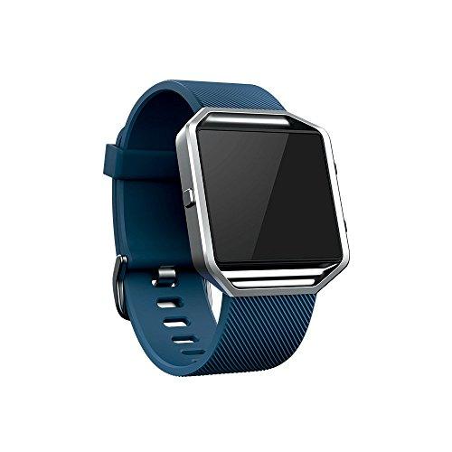 Digit.Tail Correa Suave Silicona Pulsera Deportiva Band de Repuesto con Marco Accesorios para Fitbit Blaze Smartwatch (Azul)