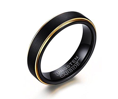 Rockyu 人気 ブランド メンズ リング タングステン ブラック 黒 指輪 平打ち ヘアライン加工 耐久性に優れた 高級 幅 5mm 仕上げ アレルギー対応