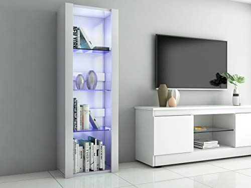 Panana LED Tall Display Cabinet with Glass Shelf Modern Sideboard Cupboard Unit for Living Room Bedroom Furniture (White Matt Body & White High Gloss Fronts)