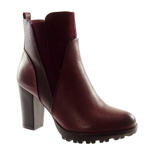 Angkorly - Damen Schuhe Stiefeletten - Chelsea Boots - bi-Material - Plateauschuhe - Schlangenhaut -...